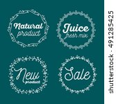 vector set of eco badges with... | Shutterstock .eps vector #491285425