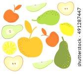 apples  pear and lemons hand... | Shutterstock .eps vector #491287447