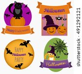halloween clip art set. cats ... | Shutterstock .eps vector #491292121