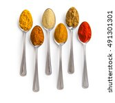 various spices in spoons... | Shutterstock . vector #491301301