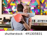 couple embracing each other... | Shutterstock . vector #491305831