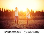 man with woman go to hold the... | Shutterstock . vector #491306389