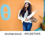 outdoor fashion image of... | Shutterstock . vector #491307445