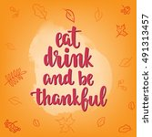 thanksgiving lettering and... | Shutterstock .eps vector #491313457