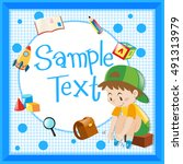 frame template with boy tying... | Shutterstock .eps vector #491313979