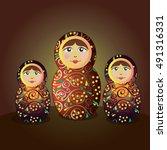 russian matryoshka doll   Shutterstock .eps vector #491316331