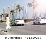 business woman crossing the...   Shutterstock . vector #491319289
