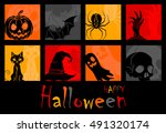 square icons symbols halloween | Shutterstock .eps vector #491320174