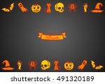 card with halloween symbols | Shutterstock .eps vector #491320189