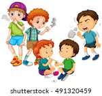 boys and girl smoking cigarette ... | Shutterstock .eps vector #491320459