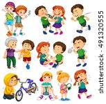 different kids doing bad things ... | Shutterstock .eps vector #491320555