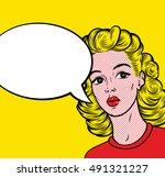 pop art cutie blonde woman with ... | Shutterstock .eps vector #491321227