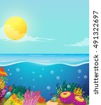 scene of ocean and underwater... | Shutterstock .eps vector #491322697