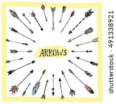decorative hand drawn arrows... | Shutterstock .eps vector #491338921