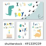 collection cards for baby boy... | Shutterstock .eps vector #491339239