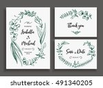 set of wedding cards with... | Shutterstock .eps vector #491340205
