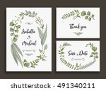 set of wedding cards with... | Shutterstock .eps vector #491340211