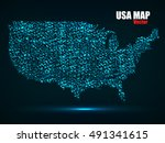 abstract map of usa with... | Shutterstock .eps vector #491341615
