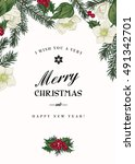 vintage christmas greeting card ... | Shutterstock .eps vector #491342701