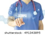 asthma concept on interface... | Shutterstock . vector #491343895