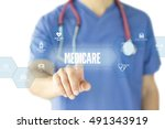 medicare concept on interface... | Shutterstock . vector #491343919