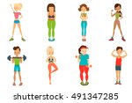 healthy lifestyle vector people ... | Shutterstock .eps vector #491347285