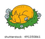 sleeping fox. cute character... | Shutterstock .eps vector #491350861