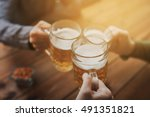 people  leisure and drinks... | Shutterstock . vector #491351821