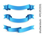 set of shiny blue ribbons on... | Shutterstock .eps vector #491352331