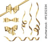 vector set of shiny golden... | Shutterstock .eps vector #491352334