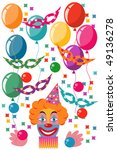 celebration set with clown | Shutterstock .eps vector #49136278