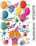 celebration set with clown   Shutterstock .eps vector #49136278