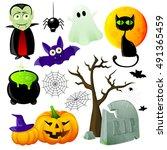 halloween symbols set with... | Shutterstock .eps vector #491365459
