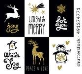 vector christmas gift tag...   Shutterstock .eps vector #491374771