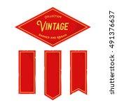 set of vintage medieval banner... | Shutterstock .eps vector #491376637