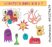 set of doodle monsters icons in ... | Shutterstock . vector #491379679