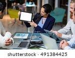 businesswoman showing digital... | Shutterstock . vector #491384425