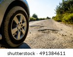 off road car wheels on damaged... | Shutterstock . vector #491384611