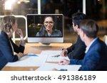 business team having video... | Shutterstock . vector #491386189