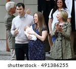 Small photo of NEW YORK - June 20, 2016: Chelsea Clinton with son Aidan, Marc Mezvinsky, Bill Clinton and Hillary Clinton are seen leaving Lenox Hill Hospital on June, 2016 in New York City.