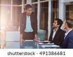 businesswoman interacting with... | Shutterstock . vector #491386681