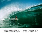 surfing girl riding a giant... | Shutterstock . vector #491393647