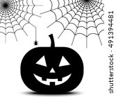 spiderweb and pumpkin for... | Shutterstock .eps vector #491394481