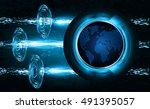 future technology  blue world... | Shutterstock .eps vector #491395057