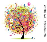 happy holiday  funny tree with... | Shutterstock .eps vector #49140322