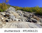 Small photo of A Slide in the Adirondacks, resulting from storms, mudslides or avalanches, which scour away trees, soil and other vegetation leaving bare rock and rubble, which are often popular for hikers to climb