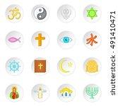 religion symbols icons set in... | Shutterstock .eps vector #491410471