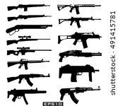 set illustration of weapons.   Shutterstock .eps vector #491415781
