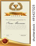 graceful certificate template... | Shutterstock .eps vector #491427325