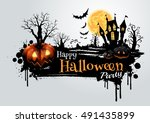 halloween pumpkins and dark... | Shutterstock .eps vector #491435899